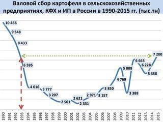 Валовый сбор картофеля в сельскохозяйственных предпиятиях, КФХ и ИП в России в 1990-2015 гг. (тыс.тн)